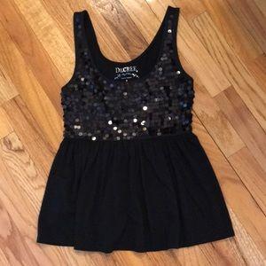 Decree Tops - Black sequin tank top. Cute!